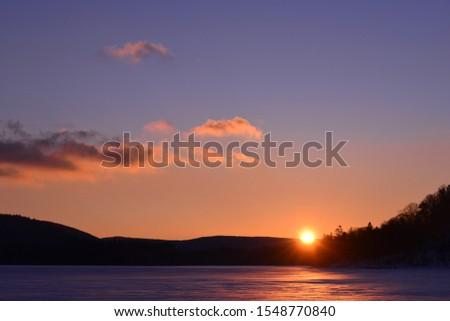 Scenic landscape of sunset, Kushiro shi, East Hokkaido, Hokkaido, Japan