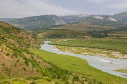 Scenic landscape view in Albanian mountain and Black Drin River, Lure National Park.