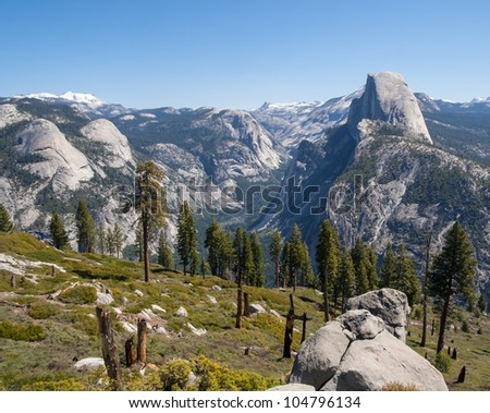 Scenic landscape view of Half Dome and Yosemite valley in Yosemite National Park