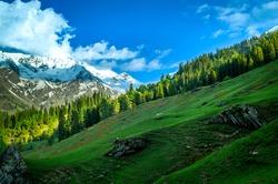 Scenic landscape view of Sarpass trek in Himalaya region Kasol, Himachal Pradesh, India.