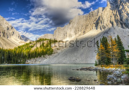 Scenic Landscapes of a high mountain lake, Chester Lake area of Kananaskis Country Alberta Canada on a sunny Autumn afternoon.