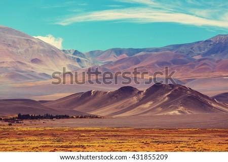 Scenic landscapes of Northern Argentina. Instagram filter.