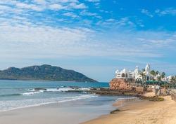 Scenic Mazatlan sea promenade (El Malecon) with ocean lookouts and scenic landscapes