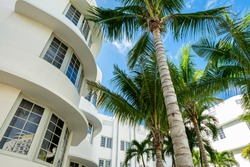 Scenic Miami Beach cityscape with art deco architecture and palm trees.