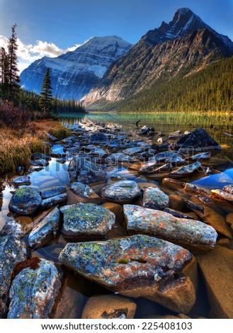 Scenic morning lake near Jasper, Canada