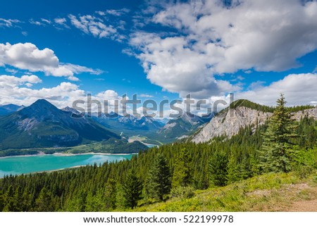 Scenic Mountain Hiking views of Barrier Lake Kananskis Country Alberta Canada