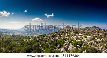 Scenic mountain landscape against cloudy sky, Crete, Greece #1511179364
