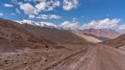 Scenic mountain landscape of high altitude Pamir Highway at Kyzyl Art pass in Trans-Alai range in no man's land between Tajikistan and Kyrgyzstan