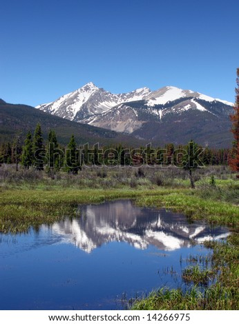 Scenic mountain landscape with river and meadow in Rocky Mountain National Park in Colorado