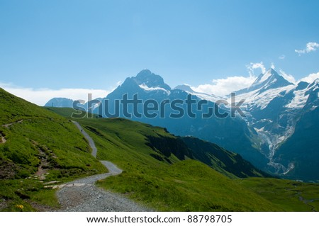 Scenic mountain path in switzerland