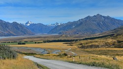 Scenic mountain ranges in Ashburton Lakes region in Canterbury, New Zealand