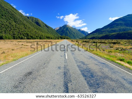 Scenic mountain road in the Southern Alps of the South Island of New Zealand