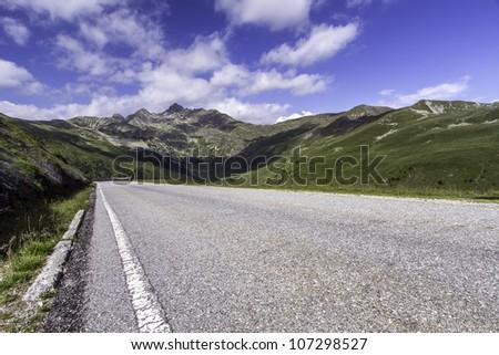 "Scenic mountain road near ""Penser Joch"" in Northern Italy"