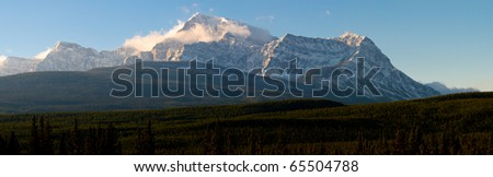Scenic mountain views in fall from Bow Valley Parkway, Banff National Park Alberta Canada