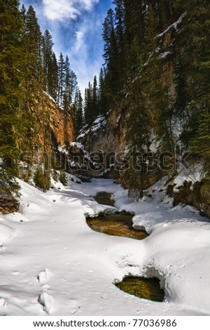Scenic mountain views of Johnson's Canyon, Banff National Park Alberta Canada