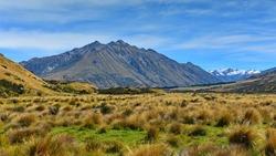 Scenic mountains in Ashburton Lakes region in Canterbury, New Zealand