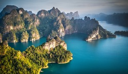Scenic mountains on the lake in Khao Sok National Park