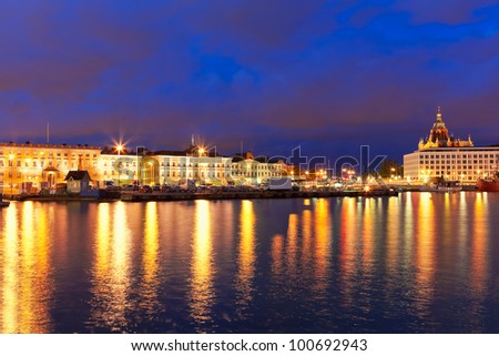 Scenic night panorama of the Old Town pier and Market Square in Helsinki, Finland