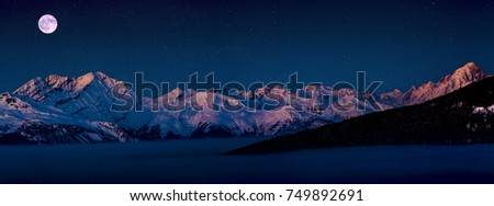 Scenic night panorama sunset landscape of Crans-Montana range in Swiss Alps mountains with peak in background, Crans Montana, Switzerland. Photo stock ©