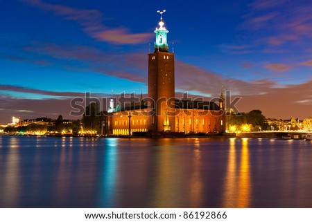 Scenic night view of the City Hall in the Old Town (Gamla Stan) in Stockholm, Sweden