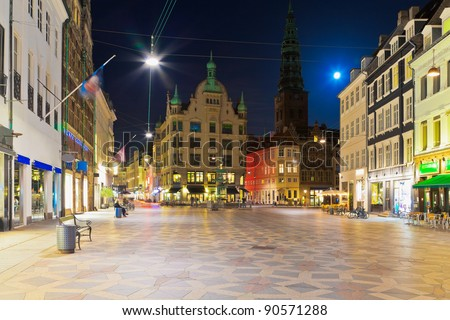 Scenic night view of the Old Town in Copenhagen, Denmark