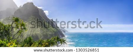 Scenic ocean paradise panorama, Na Pali Coast State Park on the island Kauai, Hawaii Stock photo ©