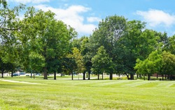 Scenic of green landscape, public outdoor park for leisure and picnic in summer. Greenery environment, lush field and trees and white clouds in blue sky. Recreation and relaxation place with nature.