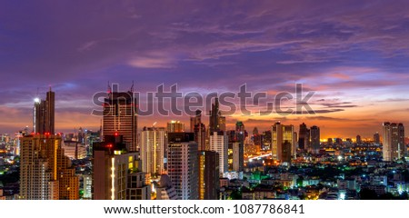 scenic of metropolis urban cityscape on sunset twilight skyline background #1087786841