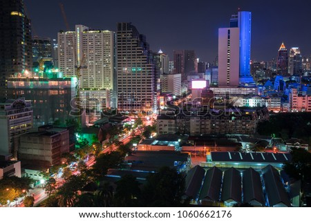 scenic of night urban cityscape in metropolis