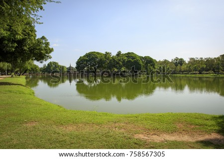 Scenic of sukhothai historical park with reflection on pond in Thailand., Tourism, World Heritage Site, Civilization,UNESCO.