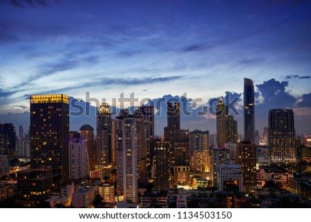 scenic of sunset twilight skyline with cityscape building metropolis town
