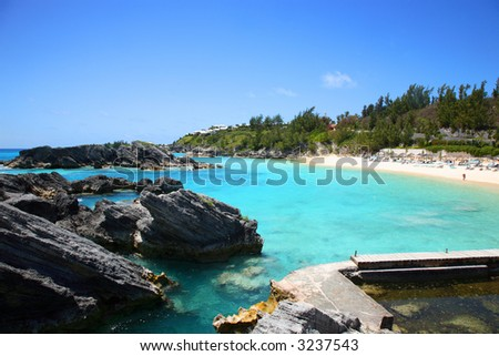 Scenic over view of a Carribbean beach in Bermuda