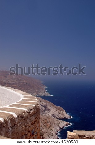 scenic overlook island view volcanic hills Cyclades Island Folegandros Mediterranean Sea Greece
