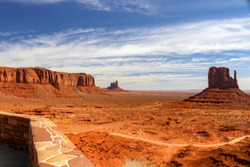 Scenic overlook of Monument Valley located at the The View Hotel on a Navajo Nation Park, Arizona. The famous  monuments used as background scenery in western movies to include John Wayne films.