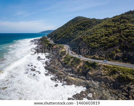 Scenic Panorama Aerial Drone Picture of Teddy's Lookout and the Great Ocean Road in Victoria, Australia