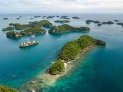 Scenic Panorama Drone Aerial Picture of the Hundred Islands National Park in Pangasinan, Philippines