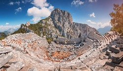 Scenic panorama of ancient amphitheatre in antique city of Termessos is one of the main tourist and archaeological site of Turkey.