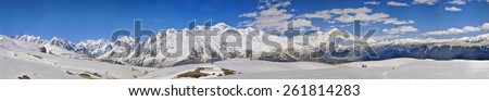 Scenic panorama of Caucasus mountains covered in snow, Svaneti, Georgia #261814283