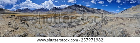 Scenic panorama of cold arid landscape in Tajikistan on sunny day