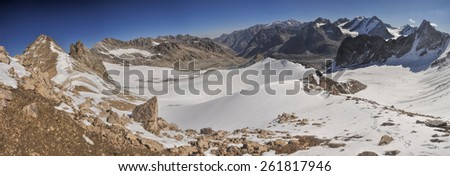 Scenic panorama of highest mountain peaks in Ala Archa national park in Tian Shan mountain range in Kyrgyzstan
