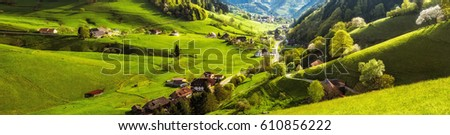 Scenic panoramic landscape of a picturesque green mountain valley in spring. Historic village with blossoming trees and traditional houses. Germany, Black Forest. Colourful travel background. #610856222