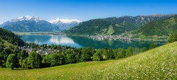 Scenic panoramic view of classic alpine mountain scenery with idyllic lake and blooming flowers in green meadows on a beautiful sunny day with blue sky in spring, Zell am See, Salzburger Land, Austria