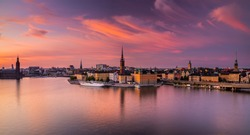 Scenic panoramic view of Gamla Stan, in the Old Town in Stockholm at sunset, capital of Sweden