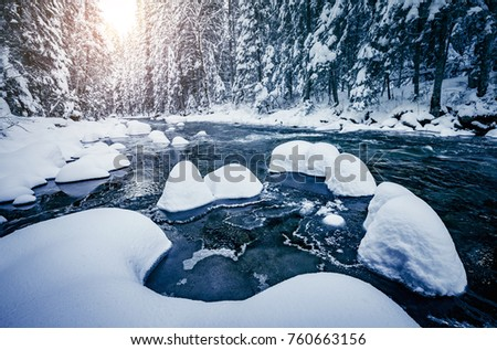 Scenic photo of stormy flow. Frozen stones in frosty day. Location Carpathian Ukraine Europe. Discover the beauty of earth. Adventure vacation. Incredible image of holiday wallpapers. Happy New Year!