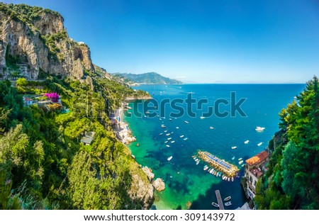 Scenic picture-postcard view of famous Amalfi Coast with beautiful Gulf of Salerno, Campania, Italy #309143972