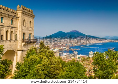 Scenic picture-postcard view of the city of Naples (Napoli) with famous Mount Vesuvius in the background from Certosa di San Martino monastery, Campania, Italy