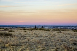 Scenic prairies landscape near Parker, Colorado, just before sunset