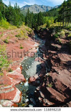 Scenic Red Rock Canyon Waterton National Park Alberta Canada