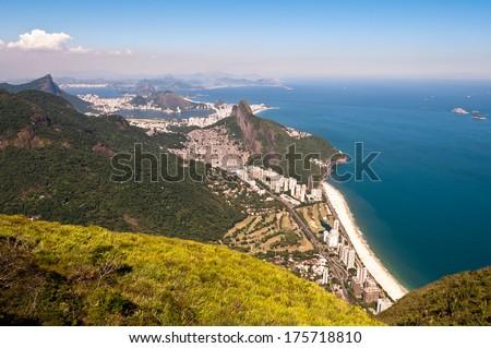 Scenic Rio de Janeiro Aerial View with Ocean, Mountains, Urban Areas Stok fotoğraf ©