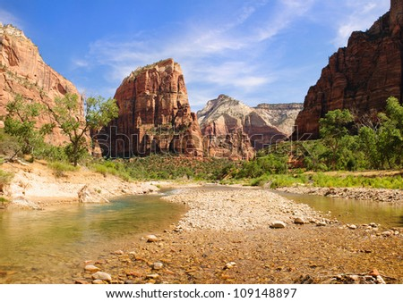 scenic river view in Zion National Park, Utah, USA